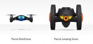 """Auf der CES 2014 stellt Parrot zwei neue Einsteiger-Modelle vor. """"MiniDrone"""" und """"JumpingSumo"""" nennen sich die beiden Spielzeuge, die Kinderherzen höher schlagen lassen und sogar zum Spaß für die ganze Familie werden könnten. Foto: Facebook-Kanal von Parrot (https://www.facebook.com/Parrot)"""