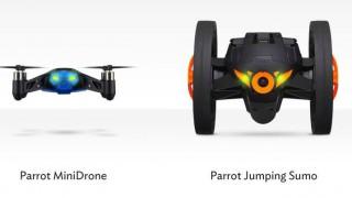 """Auf der CES 2014 stellt Parrot zwei neue Einsteiger-Modelle vor. """"MiniDrone"""" und """"JumpingSumo"""" nennen sich die beiden Spielzeug-Kopter, die Kinderherzen höher schlagen lassen und sogar zum Spaß für die ganze Familie werden könnten. Foto: Facebook-Kanal von Parrot (https://www.facebook.com/Parrot)"""