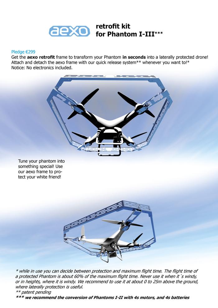 Auch für den DJI Phantom hat aexo drone ein Außenskelett im Programm.