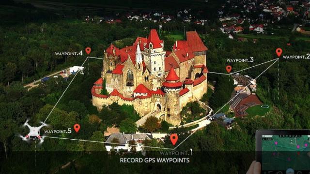 Wegpunkt-Navigation ist ein essenzieller Bestandteil in der Luftbild-Fotografie, denn in Kombination mit POI (Point of Interest) können Objekte umflogen werden, während die Kamera stets auf das Objekt selbst gerichtet bleibt.