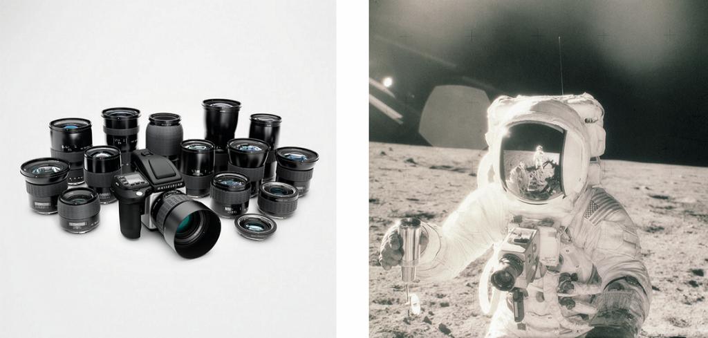 Links: Hasselblad H System Family. Rechts: Die Hasselblad 500 EL begleitete Neil Armstrong und seine Kollegen Buzz Aldrin sowie Michael Collins auf der geschichtsträchtigen Raumfahrtmission Apollo 11.