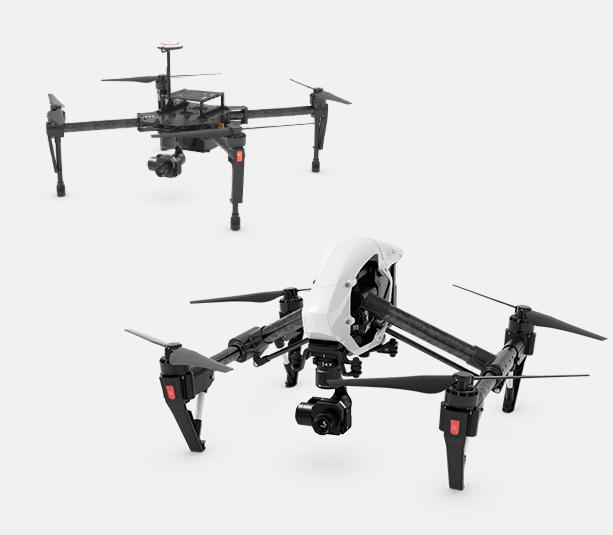 DJI Matrice M100 Quadrocopter (s.o.) vs. DJI Inspire 1 Quadrocopter (s.u.). Beide Drohnen können mit der XT-Infrarotkamera bestückt werden.