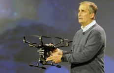 In this photo released by Intel Corporation, Brian Krzanich, Intel's Chief Executive Officer demonstrated the broad capabilities of unmanned aerial vehicle (UAV) technology to help deliver new experiences. The demonstration happened during his keynote presentation at 2016 CES (Consumer Electronics Show) on Tuesday, January 5, 2016 in Las Vegas. Krzanich showcased the Yuneec Typhoon H with Intel® RealSense™ Technology using Intel RealSense Technology and an Intel® Atom™ processor for collision-avoidance*. CES is one of the world's largest gathering places for all who thrive on consumer technologies and will run January 5-9, 2016 in Las Vegas. (Photo by Intel Corporation/Bob Riha, Jr.) *These devices have not been authorized as required by the rules of the Federal Communications Commission. These devices are not, and may not be, offered for sale or lease, or sold or leased, until authorization is obtained.