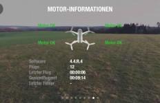Die App informiert genauestens über die Motoren – etwa wenn ein Motor blockiert ist. Aber auch die aktuelle Software oder die Gesamtanzahl der Flüge und Gesamtflugzeit wird angezeigt.