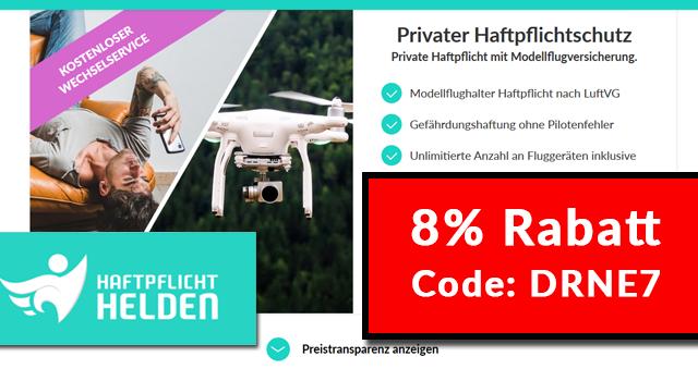 Haftpflicht Helden Code: Rabatt für Drohnenversicherung / Haftpflicht