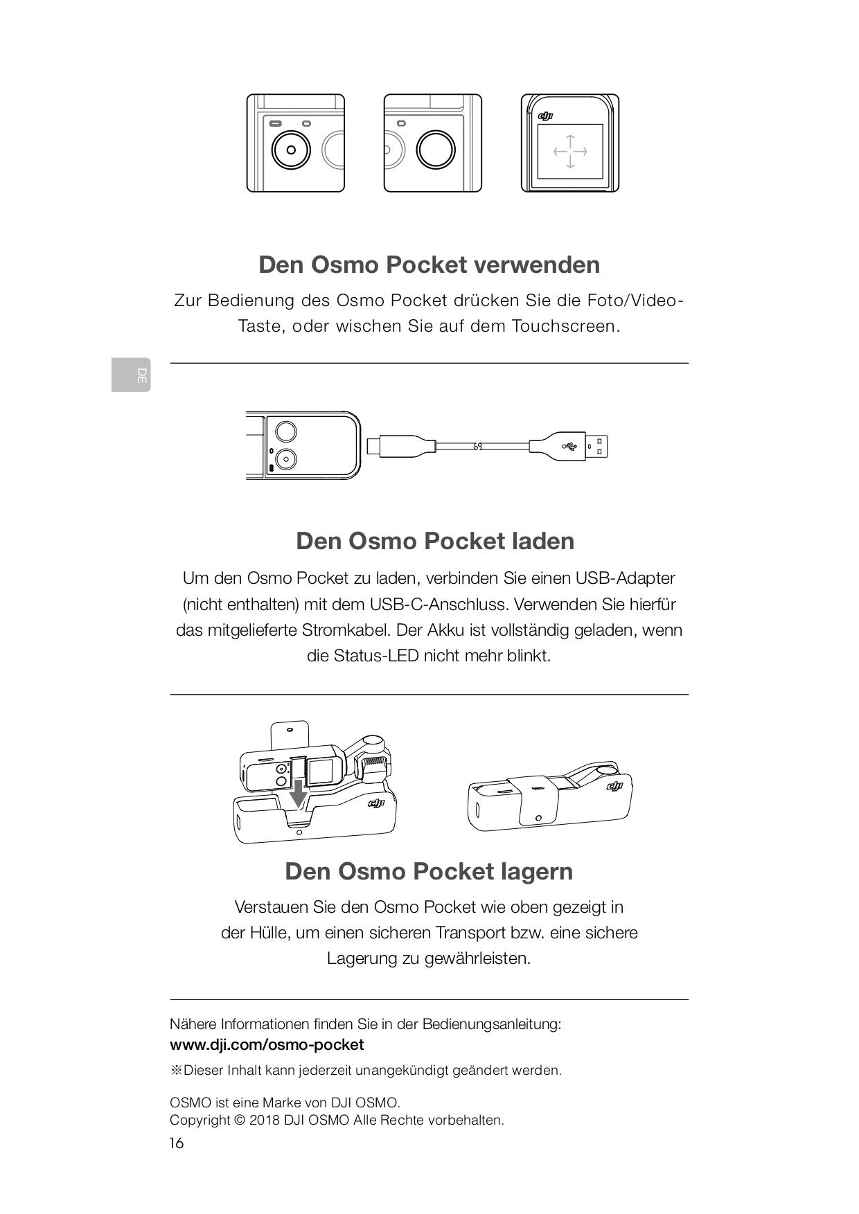 DJI Osmo Pocket verwenden
