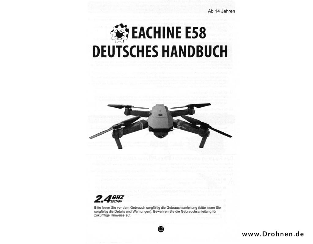 Drone X Pro - Eachine E58 - Anleitung deutsch - Seite 1