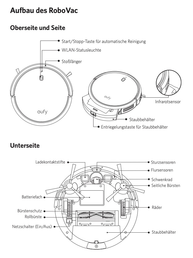 Eufy RoboVac 30C Aufbau