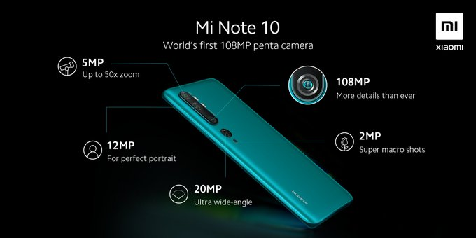 Penta Cam Xiaomi Mi Note 10