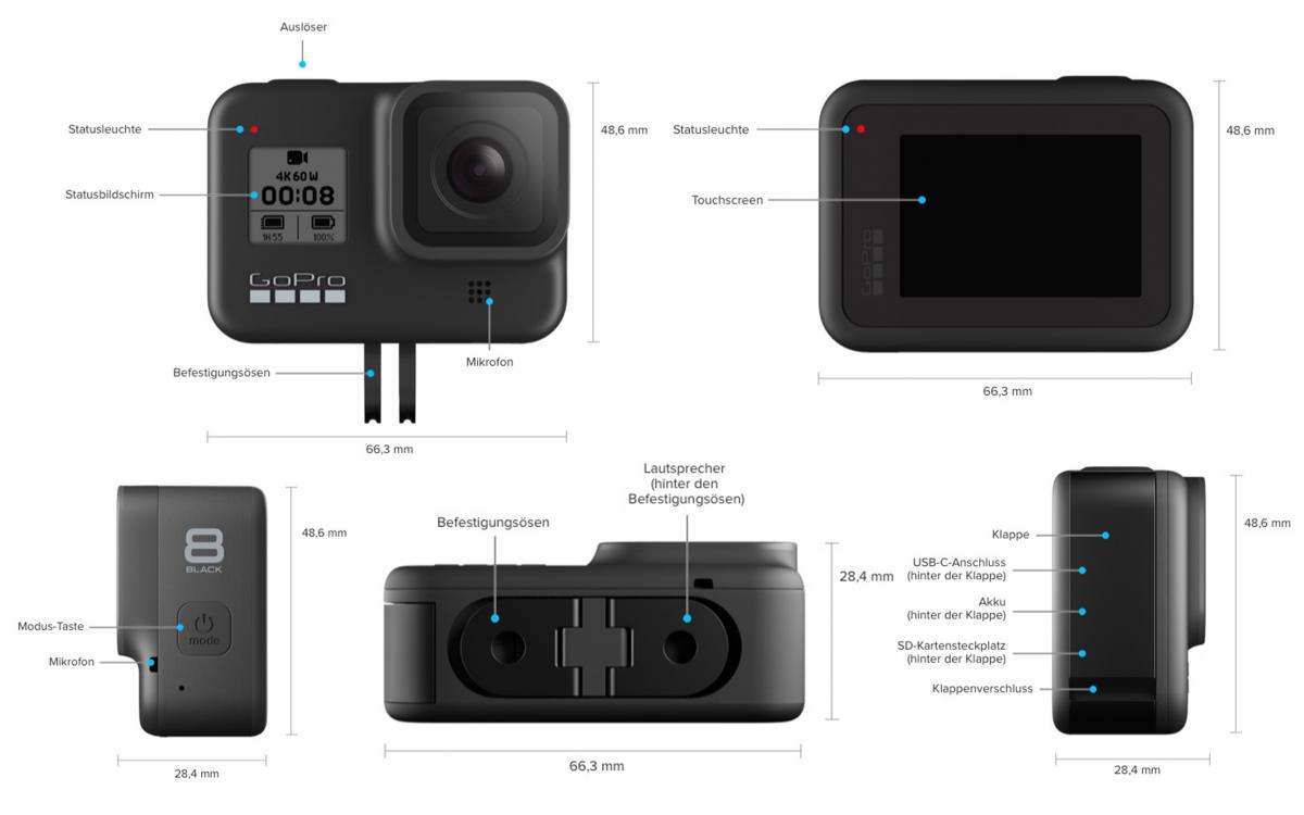 GoPro HERO 8 Black – Buttons und Anschlüsse