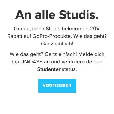 GoPro-Studentenrabatt mit UNiDAYS