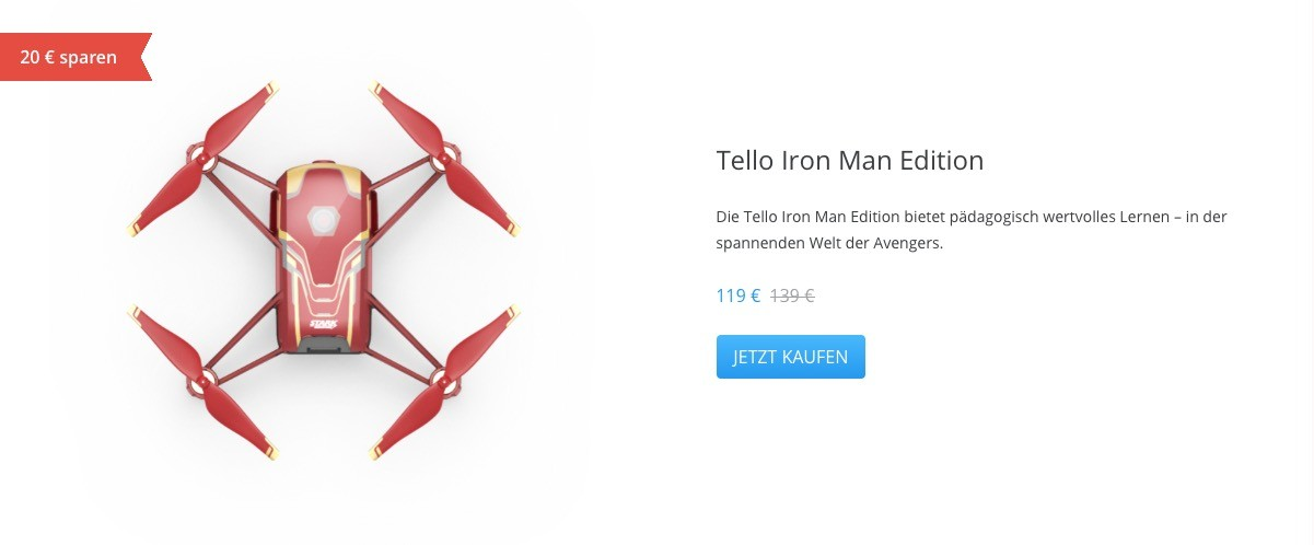 Ryze Tello Iron Man Edition DJI Valentinstag-Aktion