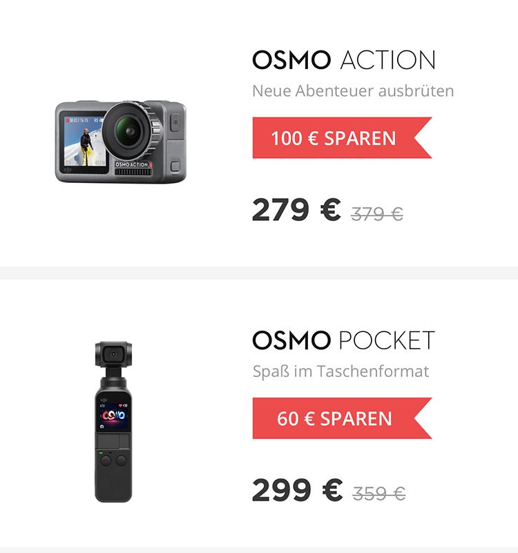 Rabatt für DJI Osmo Action und DJI Osmo Pocket