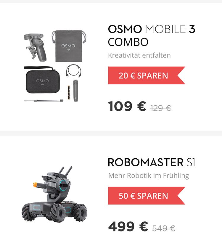 Rabatt für DJI Osmo Mobile 3 und DJI RoboMaster S1