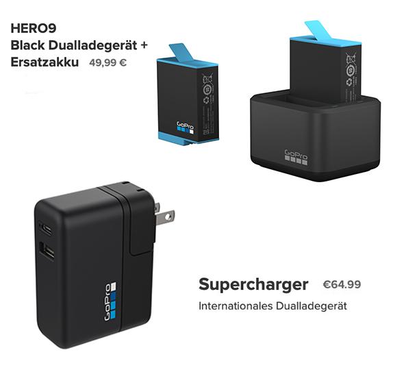 GoPro HERO 9 Black Dual-Ladegerät und Supercharger