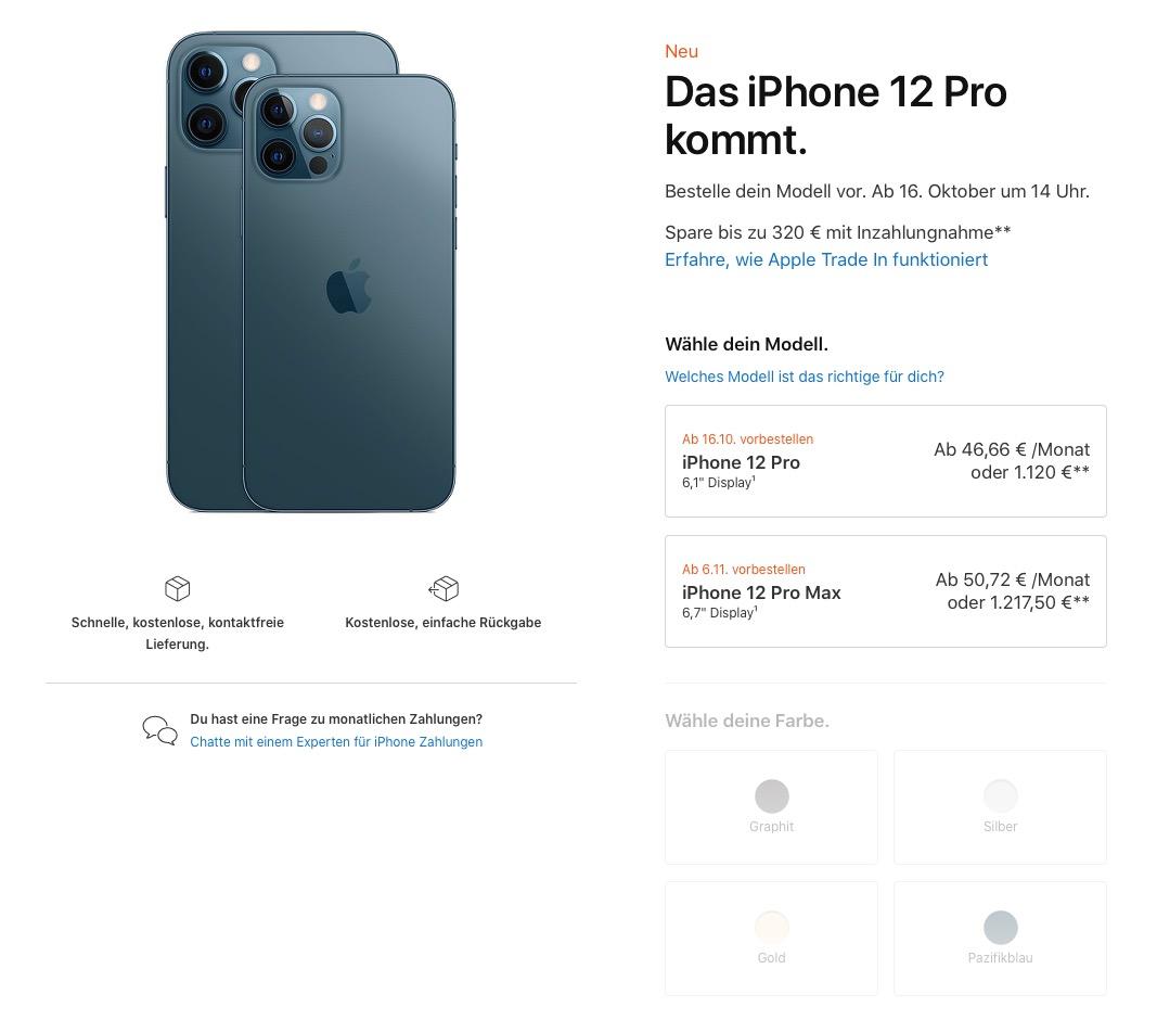 Apple iPhone 12 Pro Preise