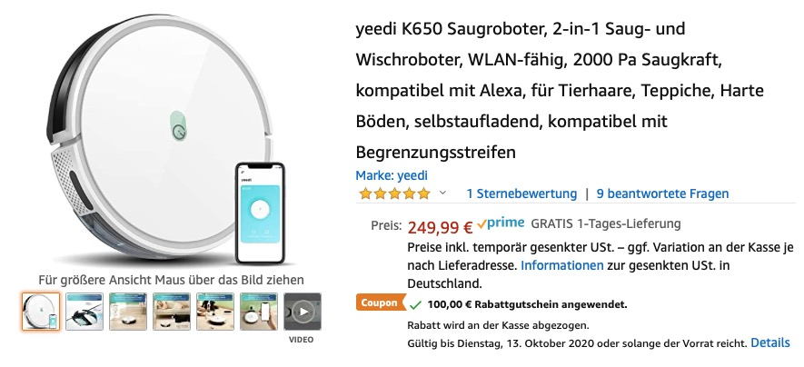 Yeedi K650 Saugroboter: 100,- Euro Rabatt zum Amazon Prime Day 2020