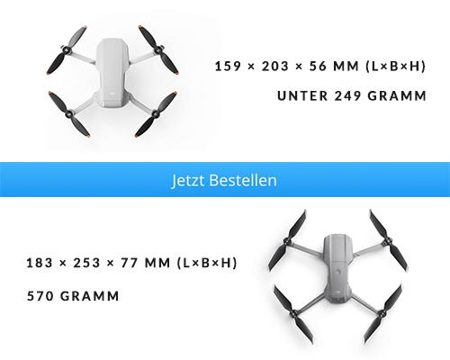 Abmessungen und Gewicht DJI Mini 2 vs. DJI Mavic Air 2