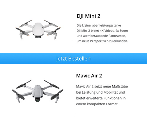 Preisunterschied DJI Mini 2 vs. DJI Mavic Air 2