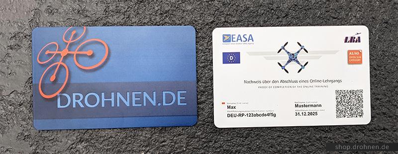 EU Drohnenführerschein Kompetenznachweis Scheckkarte Karte Plastik