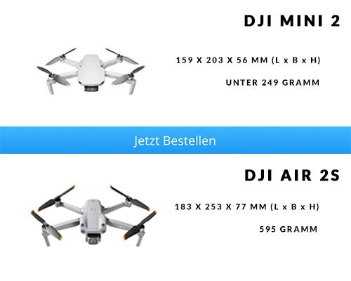 Abmessungen und Gewicht DJI Mini 2 vs. DJI Air 2S