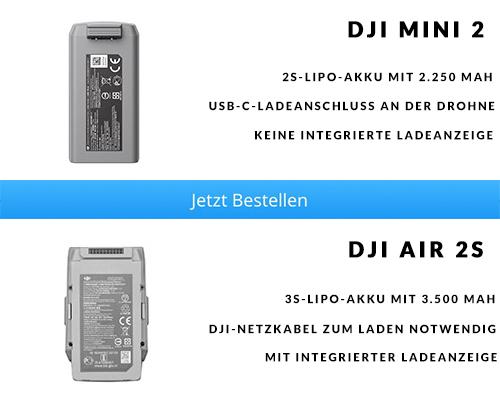 Akku DJI Mini 2 vs. DJI Air 2S