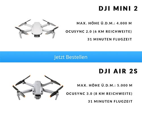 Flugverhalten Reichweite Flugzeit DJI Mini 2 vs. DJI Air 2S