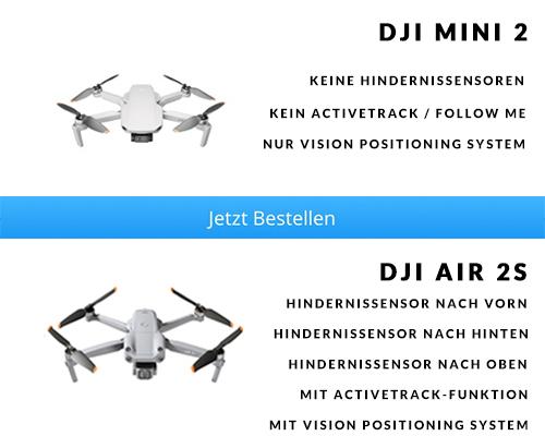 Hindernissensoren DJI Mini 2 vs. DJI Air 2S