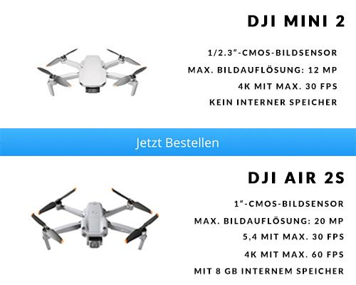 Kamera, Foto und Video DJI Mini 2 vs. DJI Air 2S