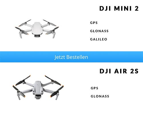 Satellitennavigationssystem DJI Mini 2 vs. DJI Air 2S