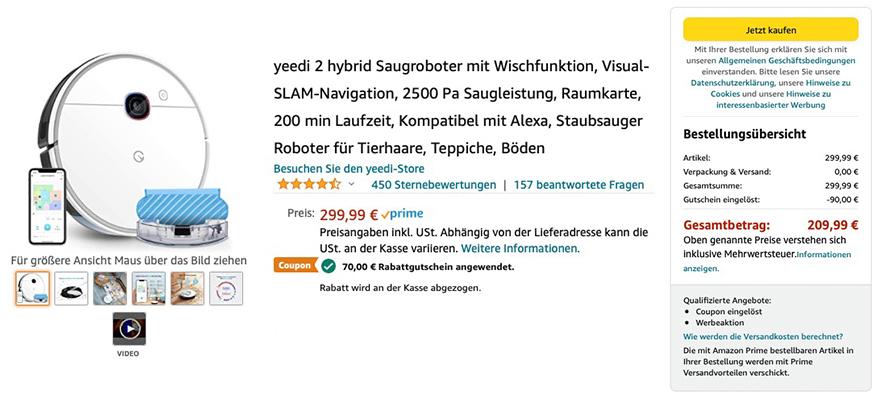 Yeedi 2 Hybrid Saugroboter: 90,- Euro Rabatt zum Amazon Prime Day 2021