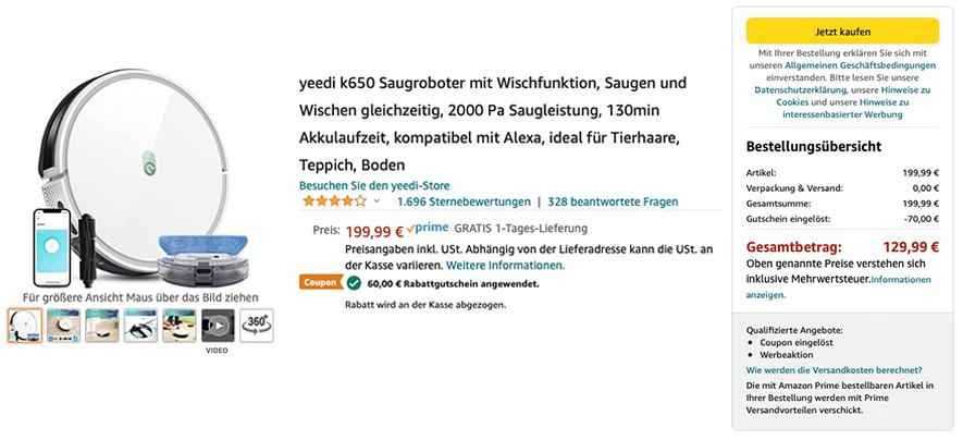 Yeedi K650 Saugroboter: 70,- Euro Rabatt zum Amazon Prime Day 2021